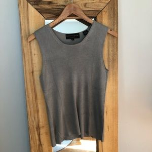 Magaschoni Collection Grey Silk Knit Tank Shell M